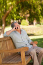 Mature man phoning in the park Royalty Free Stock Photo
