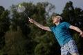 Man playing badminton Royalty Free Stock Photo
