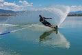 Mature Man Slalom Water Skiing Royalty Free Stock Photo