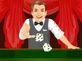 Mature man throwing dice in casino playing craps Royalty Free Stock Photo