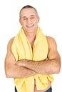 Mature man with a towel around neck smiling Stock Photos