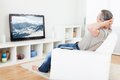 Mature man watching tv Royalty Free Stock Photo