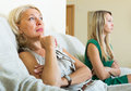 Mature mother and daughter having quarrel in home Royalty Free Stock Photography