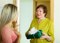 Mature neighbor presenting gift to young girl in door Stock Photos
