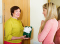 Mature neighbor presenting gift to young girl smiling in home Stock Photos