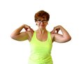 Mature nice woman doing fitness isolated Royalty Free Stock Photo