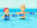 Mature people doing aqua aerobics with foam dumbbell in swimming pool at the leisure center.