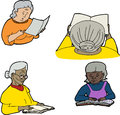 Mature people reading drawings of senior women over white background Royalty Free Stock Photos