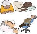 Mature people sleeping various senior adults asleep over white background Stock Photo