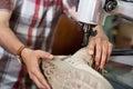 Maduro obrero costura piel zapatos en puntada torno