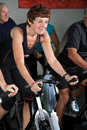 Mature spinning class Stock Photos