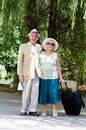 Mature vital elderly couple traveling on vacation Stock Image