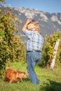 Mature winegrower harvesting black grapes in his vineyard Royalty Free Stock Photo