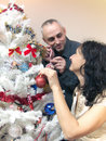 Mature woman and man decorating Christmas tree Stock Photos