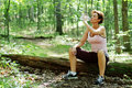 Mature Woman Runner Resting Royalty Free Stock Photos