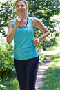 Mature Woman Running Outdoors In Countryside Royalty Free Stock Photo