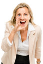 Mature woman shouting isolated on white background business screaming Stock Images