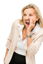Mature woman shouting isolated on white background happy screaming Stock Photo