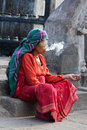 Mature woman smoking kathmandu september old medicinal herbs for relaxation on the streets of kathmandu on sept in kathmandu nepal Stock Image