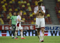 Matus bero of trencin dejected after the champions league qualifier game between steaua bucharest as trencin from slovakia on july Royalty Free Stock Photography