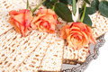 Matza for passover celebration bread with roses Royalty Free Stock Image