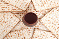 Matza for passover celebration bread with wine Royalty Free Stock Images