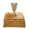 Matzo silver kiddush cup and walnuts for passover arrangement with three Stock Images