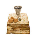Matzo silver kiddush cup and walnuts for passover arrangement with three Stock Photography