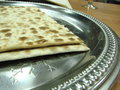 Matzo on silver plate Royalty Free Stock Images