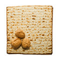 Matzo and three walnuts traditional passover seder food Stock Photo