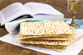 Matzo and wine for passover celebration on a wooden surface Stock Photography