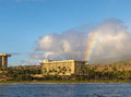 Maui rainbow over with hotels in the foreground Stock Images
