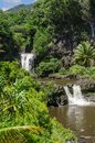 Maui waterfall with lush tropical vegetation Royalty Free Stock Images