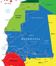 Mauritania map highly detailed vector of with administrative regions main cities and roads Stock Images