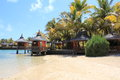 Mauritius beach huts on coast in Royalty Free Stock Photos