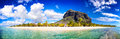Mauritius beach panorama white sand and le morne brabant mountain Royalty Free Stock Image