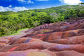 Mauritius.Chamarel-seven-color lands. Royalty Free Stock Images