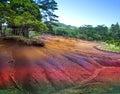 Mauritius erde von sieben colors tropical landschaft an einem sonnigen tag Stockfotografie