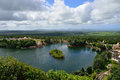 Mauritius island aerial view of grand bassin lake Stock Photos