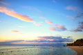 Mauritius sunset beautiful in island Stock Photo