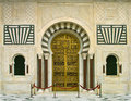 Mausoleum beautifully decorated gate at the entrance to the of habib bourguiba in monastir tunisia Royalty Free Stock Images