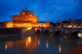 Mausoleum of hadrian rome italy known as the castel sant angelo blue twilight Royalty Free Stock Image