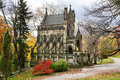 Mausoleum modeled gothic cathedral beautiful arboretum cemetery setting autumn southwestern ohio usa Royalty Free Stock Image