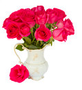 Mauve fresh roses in vase isolated on white background Royalty Free Stock Photography