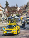Mavic yellow car saint pierre lã s nemours france th march image of the technical of during the first stage of the famous road Royalty Free Stock Photo