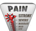 Max pain level thermometer painful diagnosis treatment a measuring your with mercury rising past low mile moderate severe and Royalty Free Stock Photo