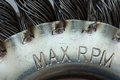 Max rpm sign on wire brush Royalty Free Stock Photography