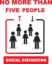 Maximum five people allowed in the shop lift or elevator store at one time signage, sign for shops to protect from Coronavirus Royalty Free Stock Photo