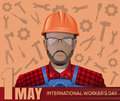 1 May card. Labor Day poster with worker man