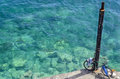 May chania crete bicycle at the post on the aegean sea in Stock Photography